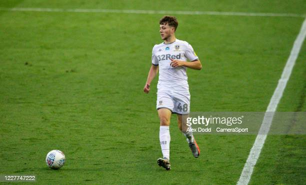 Leeds United's Jordan Stevens in action during the Sky Bet Championship match between Leeds United and Charlton Athletic at Elland Road on July 22...