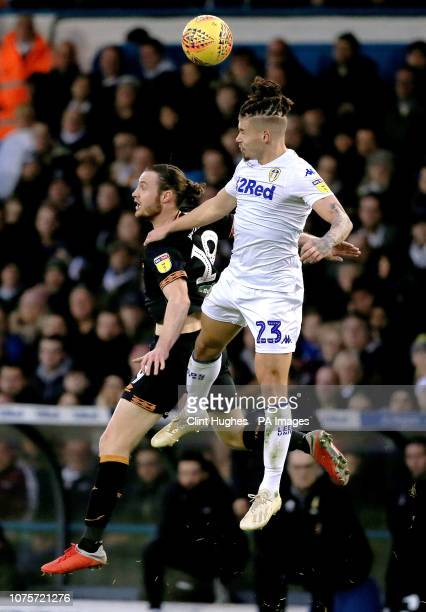 Leeds United's Kalvin Phillips and Hull City's Will Keane contest a header during the Sky Bet Championship match at Elland Road Leeds