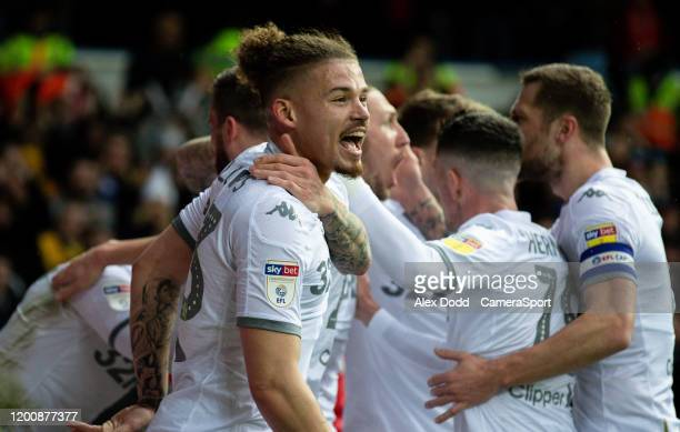 Leeds United's Kalvin Phillips celebrates after Luke Ayling opened the scoring during the Sky Bet Championship match between Leeds United and Bristol...