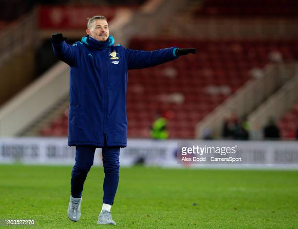 Leeds United's Kalvin Phillips celebrates after the match during the Sky Bet Championship match between Middlesbrough and Leeds United at Riverside...