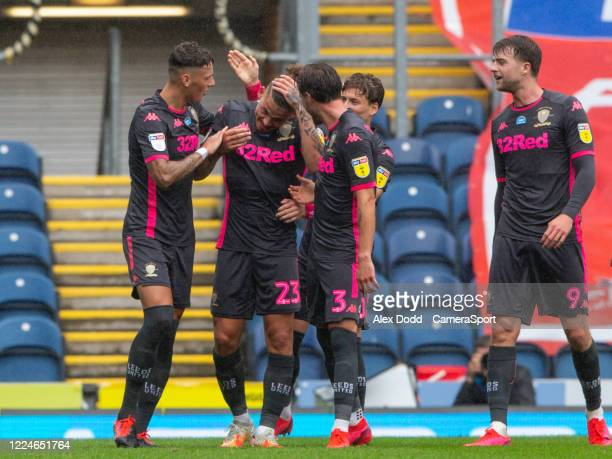 Leeds United's Kalvin Phillips celebrates scoring his side's second goal from a free kick during the Sky Bet Championship match between Blackburn...