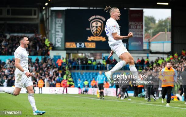 Leeds United's Kalvin Phillips celebrates scoring the opening goal during the Sky Bet Championship match between Leeds United and Birmingham City at...
