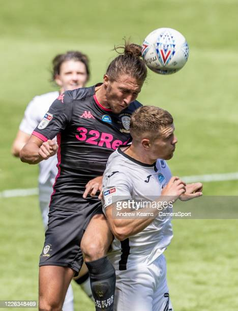 Leeds United's Kalvin Phillips competing with Swansea City's Jake Bidwell during the Sky Bet Championship match between Swansea City and Leeds United...