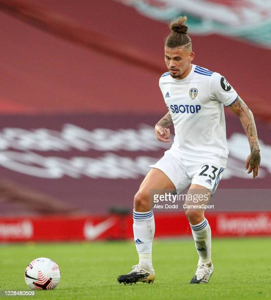 Leeds United's Kalvin Phillips during the Premier League match between Liverpool and Leeds United at Anfield on September 12 2020 in Liverpool United...