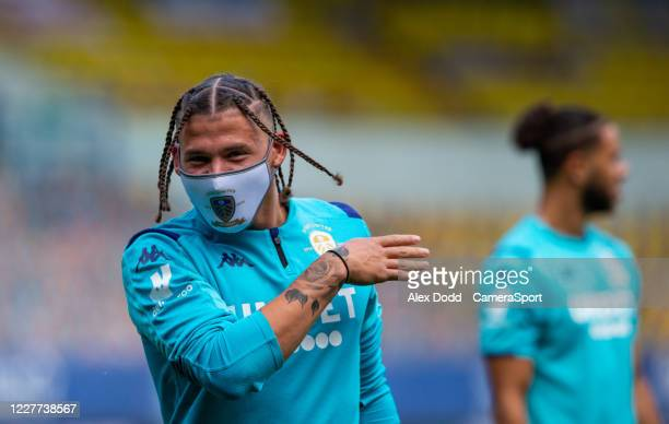 Leeds United's Kalvin Phillips gestures during the Sky Bet Championship match between Leeds United and Charlton Athletic at Elland Road on July 22...