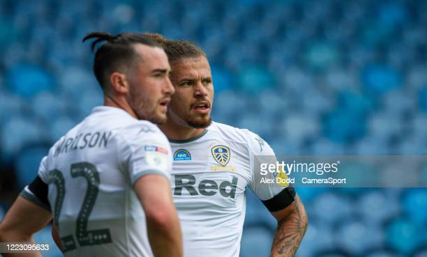 Leeds United's Kalvin Phillips has a word with Jack Harrison during the Sky Bet Championship match between Leeds United and Fulham at Elland Road on...