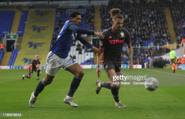 BIRMINGHAM ENGLAND DECEMBER Leeds United's Kalvin Phillips in action with Birmingham City's Jude Bellingham during the Sky Bet Championship match...