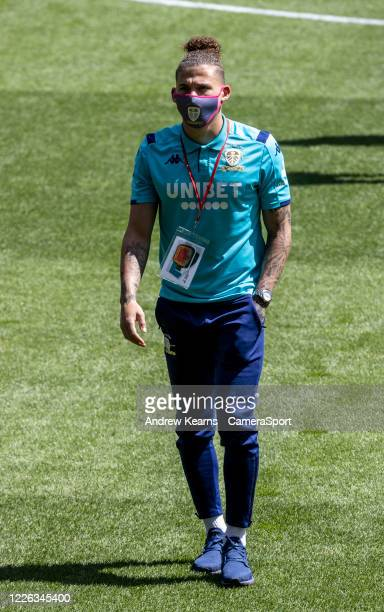 Leeds United's Kalvin Phillips inspecting the pitch before the match during the Sky Bet Championship match between Swansea City and Leeds United at...