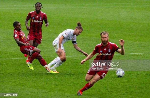 Leeds United's Kalvin Phillips is fouled by Fulhams Ivan Cavaleiro during the Sky Bet Championship match between Leeds United and Fulham at Elland...