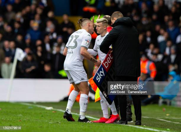 Leeds United's Kalvin Phillips is replaced by Ezgjan Alioski during the Sky Bet Championship match between Leeds United and Reading at Elland Road on...