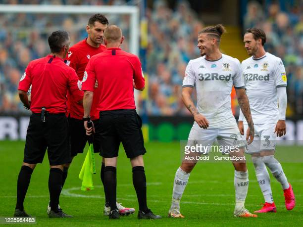 Leeds United's Kalvin Phillips jokes with referee Darren Bond after the match during the Sky Bet Championship match between Leeds United and Stoke...