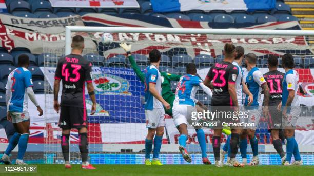 Leeds United's Kalvin Phillips scores his side's second goal from a free kick during the Sky Bet Championship match between Blackburn Rovers and...