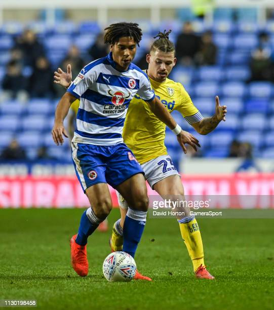 Leeds United's Kalvin Phillips vies for possession with Reading's Danny Loader during the Sky Bet Championship match between Reading and Leeds United...