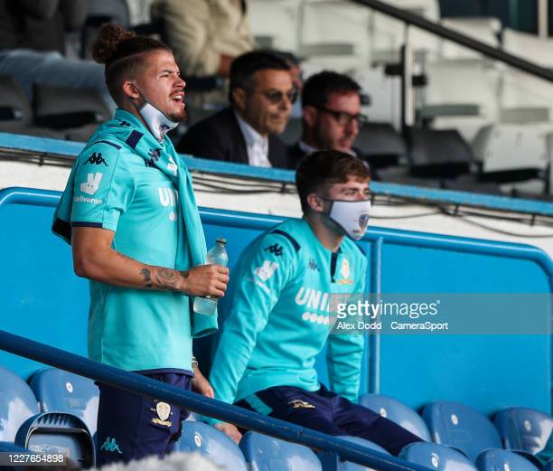 Leeds United's Kalvin Phillips watches on during the Sky Bet Championship match between Leeds United and Barnsley at Elland Road on July 16 2020 in...