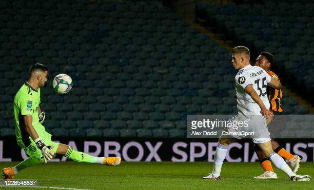 Leeds United's Kiko Casilla blocks the shot from Hull City's Mallik Wilks during the Carabao Cup Second Round Northern Section match between Leeds...