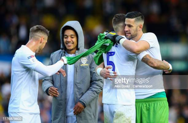 Leeds United's Kiko Casilla celebrates after the match with Ben White during the Sky Bet Championship match between Leeds United and Birmingham City...