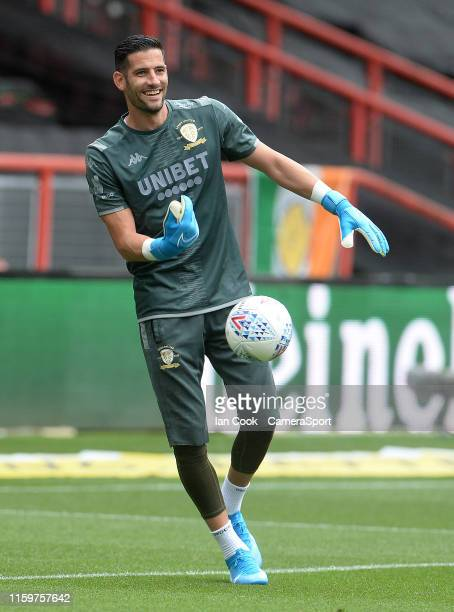 Leeds United's Kiko Casilla during the prematch warmup during the Sky Bet Championship match between Bristol City and Leeds United at Ashton Gate on...