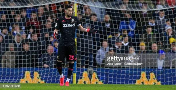 Leeds United's Kiko Casilla gestures after conceding during the Sky Bet Championship match between Leeds United and Wigan Athletic at Elland Road on...