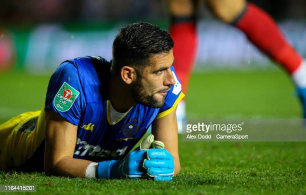 LEEDS ENGLAND AUGUST Leeds United's Kiko Casilla reacts during the Carabao Cup Second Round match between Leeds United and Stoke City at Elland Road...