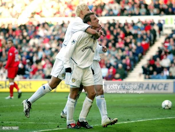Leeds United's Lee Bowyer is congratulated by teammate Alan Smith after scoring the second goal against Middlesbrough during the Barclaycard...