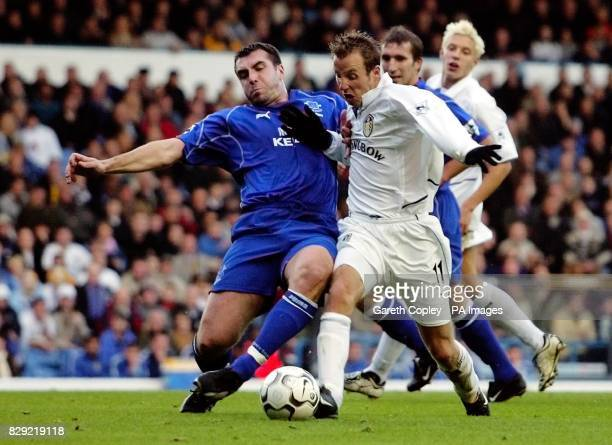 Leeds United's Lee Bowyer is tackled by Everton's Alan Stubbs during their Barclaycard FA Premiership match at Elland Road Leeds THIS PICTURE CAN...
