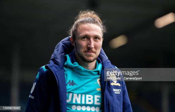 Leeds United's Luke Ayling arrives at Elland Road during the Sky Bet Championship match between Leeds United and Huddersfield Town at Elland Road on...