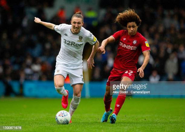 Leeds United's Luke Ayling battles with Bristol City's HanNoah Massengo during the Sky Bet Championship match between Leeds United and Bristol City...