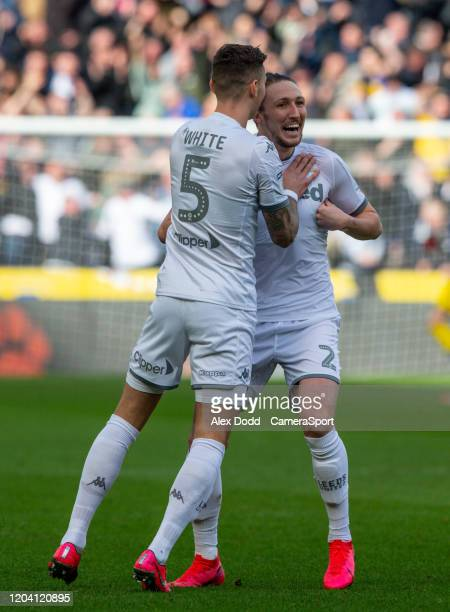 Leeds United's Luke Ayling celebrates scoring the opening goal during the Sky Bet Championship match between Hull City and Leeds United at KCOM...