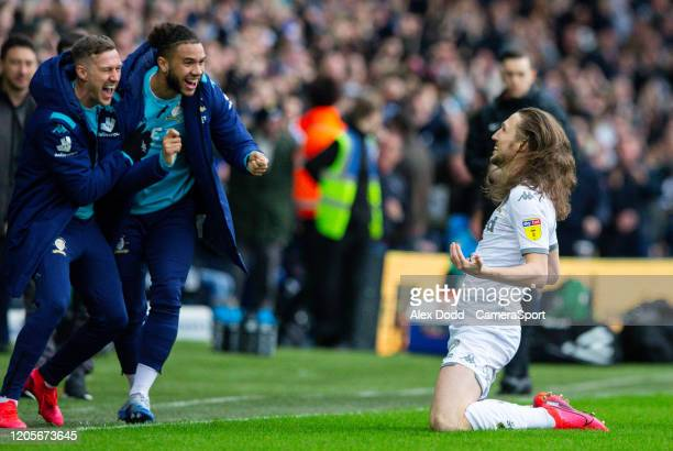 Leeds United's Luke Ayling celebrates scoring the opening goal during the Sky Bet Championship match between Leeds United and Huddersfield Town at...