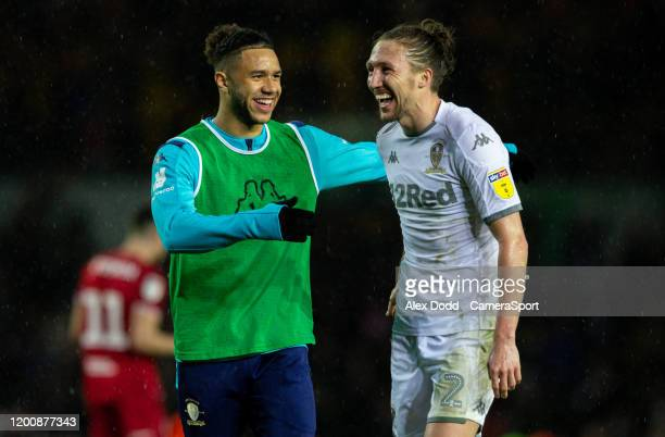 Leeds United's Luke Ayling celebrates with Tyler Roberts after the match during the Sky Bet Championship match between Leeds United and Bristol City...