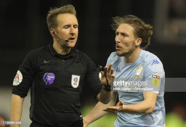 Leeds United's Luke Ayling pleads with ref Oliver Langford during the Sky Bet Championship match between Nottingham Forest and Leeds United at City...