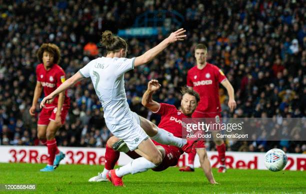 Leeds United's Luke Ayling scores the opening goal during the Sky Bet Championship match between Leeds United and Bristol City at Elland Road on...