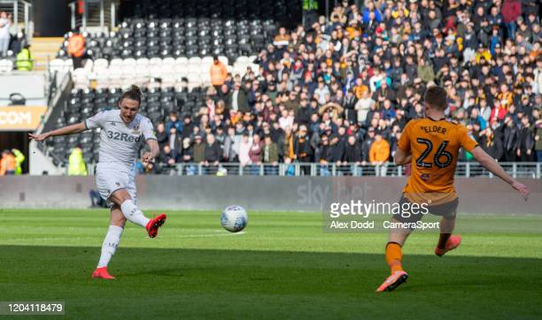 Leeds United's Luke Ayling scores the opening goal during the Sky Bet Championship match between Hull City and Leeds United at KCOM Stadium on...