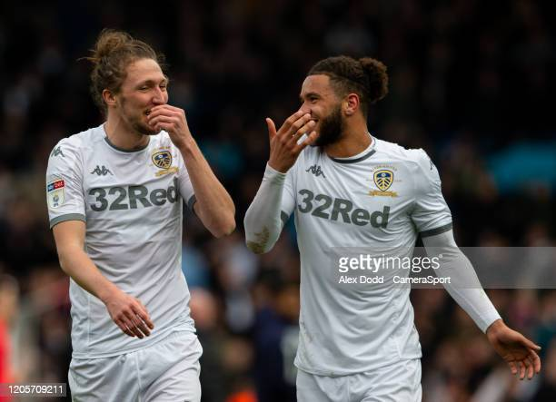 Leeds United's Luke Ayling shares a joke with Tyler Roberts after the match during the Sky Bet Championship match between Leeds United and...
