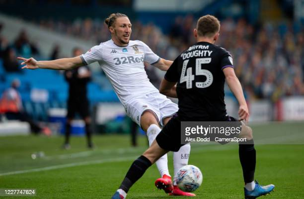 Leeds United's Luke Ayling takes on Charlton Athletic's Alfie Doughty during the Sky Bet Championship match between Leeds United and Charlton...