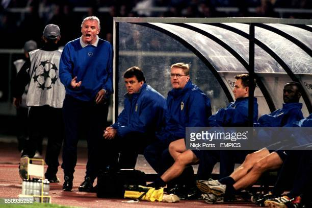 Leeds United's manager David O'Leary watches in silence as his assistant Eddie Gray barks instructions to the players