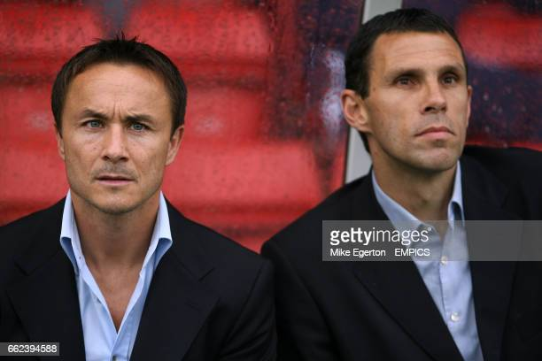 Leeds United's manager Dennis Wise and assistant Gus Poyet
