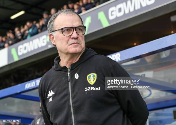 Leeds United's manager Marcelo Bielsa during the FA Cup Third Round match between Queens Park Rangers and Leeds United at Loftus Road on January 6...