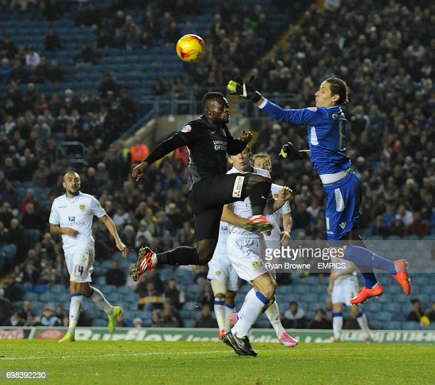 Leeds United's Marco Silvestri clears the ball from Charlton Athletic's Igor Vetokele