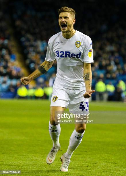 Leeds United's Mateusz Klich celebrates scoring his side's equalising goal to make the score 11 during the Sky Bet Championship match between...
