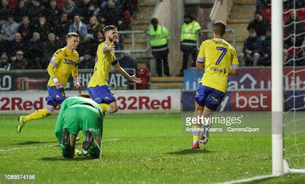 Leeds United's Mateusz Klich celebrates scoring his side's second goal during the Sky Bet Championship match between Rotherham United and Leeds...
