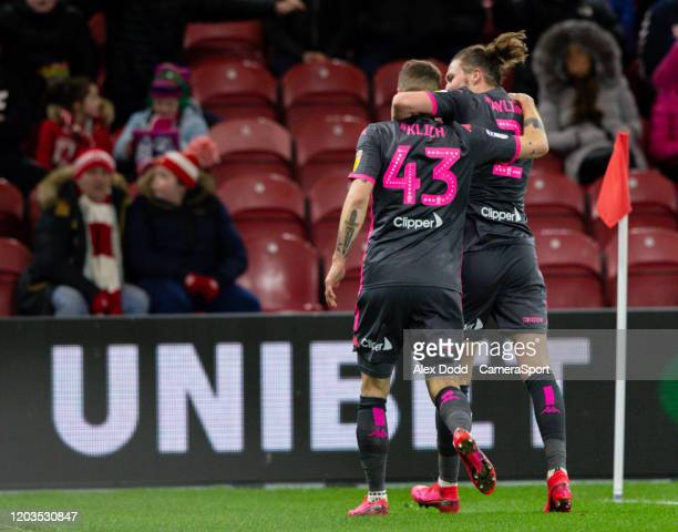 Leeds United's Mateusz Klich celebrates scoring the opening goal with Luke Ayling during the Sky Bet Championship match between Middlesbrough and...