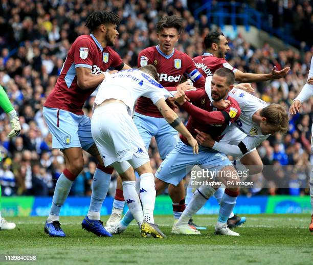 Leeds United's Mateusz Klich is confronted by Aston Villa's Conor Hourihane after he scores his sides first goal whilst Aston Villa's Jonathan Kodjia...