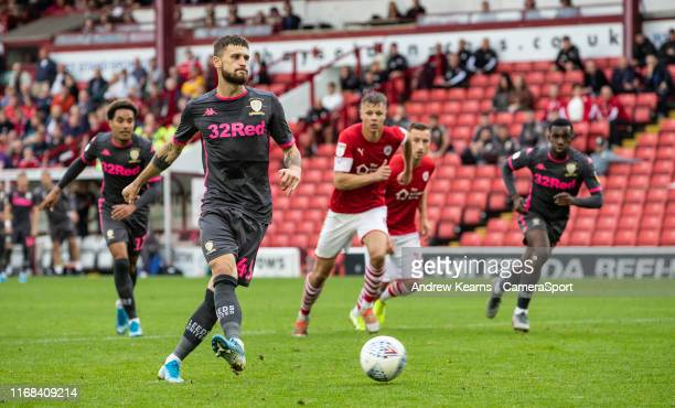 Leeds United's Mateusz Klich scoring a penalty during the Sky Bet Championship match between Barnsley and Leeds United at Oakwell Stadium on...