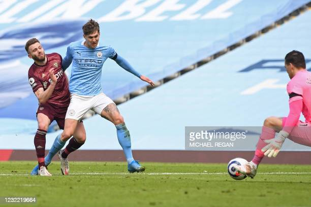 Leeds United's Northern Irish midfielder Stuart Dallas scores a goal during the English Premier League football match between Manchester City and...