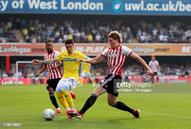 dfd9436a Leeds United's Pablo Hernandez and Brentford's Mads Bech Sorensen battle  for the ball during the Sky