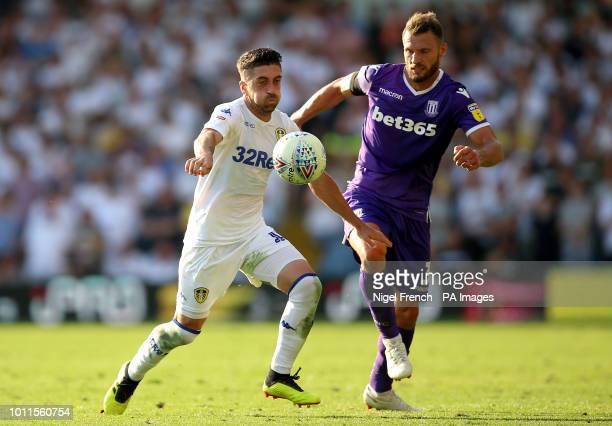 Leeds United's Pablo Hernandez and Stoke City's Erik Pieters battle for the ball during the Sky Bet Championship match at Elland Road Leeds
