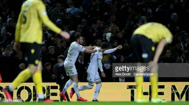 Leeds United's Pablo Hernandez celebrates scoring his side's second goal during the Sky Bet Championship match between Leeds United and Millwall at...