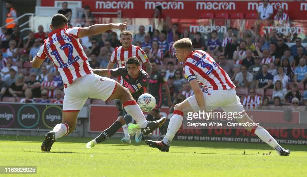 Leeds United's Pablo Hernandez shoots between Stoke City's Cameron CarterVickers and Nathan Collins during the Sky Bet Championship match between...
