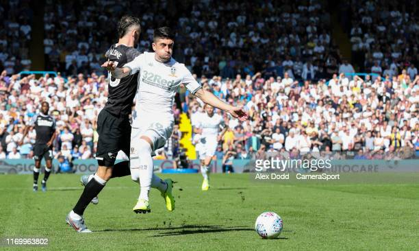 Leeds United's Pablo Hernandez steals the ball from Derby County's Scott Malone during the Sky Bet Championship match between Leeds United and Derby...